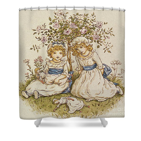 Two Girls With Dolls Sitting Under A Rose Bush, 19th Century Shower Curtain