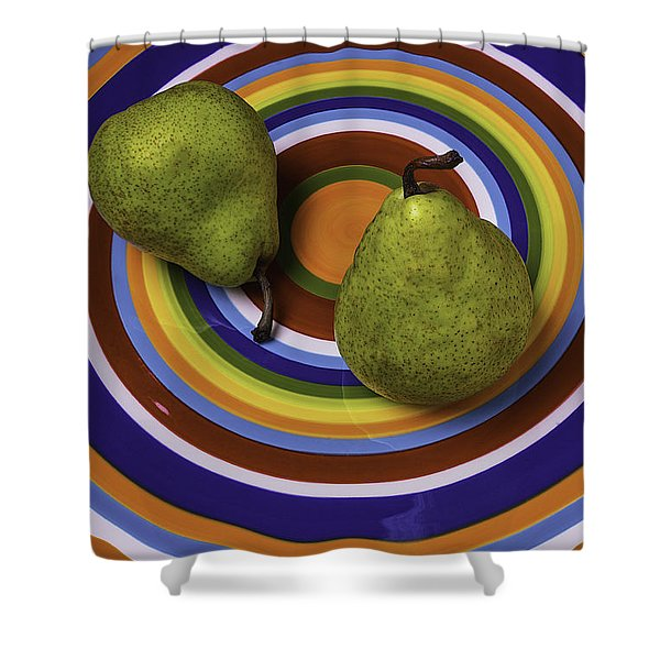 Two Green Pears On Circle Plate Shower Curtain