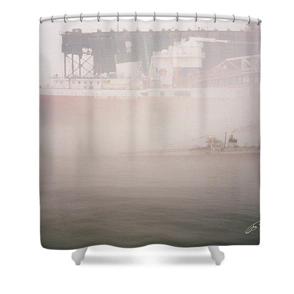 Two Harbors Fog Ship II Shower Curtain
