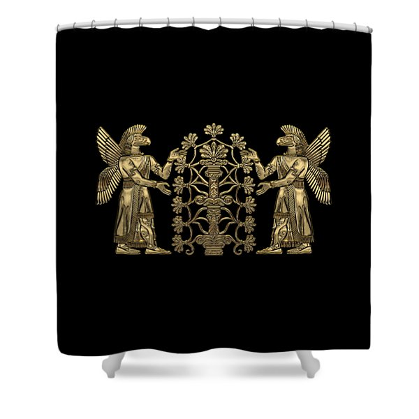 Two Instances Of Gold God Ninurta With Tree Of Life Over Black Canvas Shower Curtain