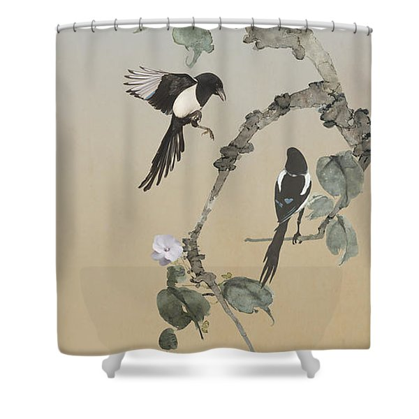 Two Magpies                       Shower Curtain