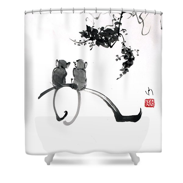 Two Monkeys Shower Curtain