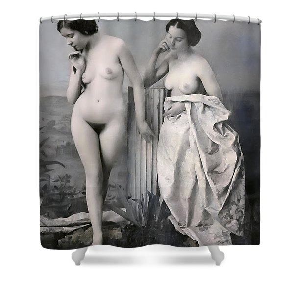 Two Nude Victorian Women At The Baths C. 1851 Shower Curtain by Daniel Hagerman