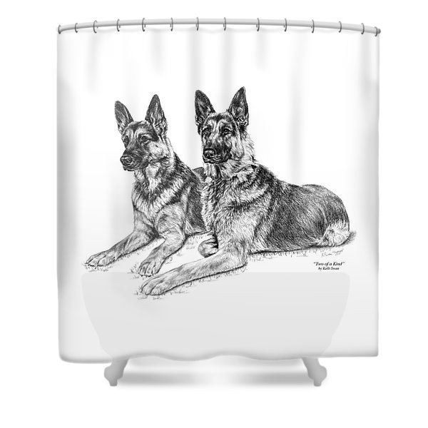 Two Of A Kind - German Shepherd Dogs Print Shower Curtain