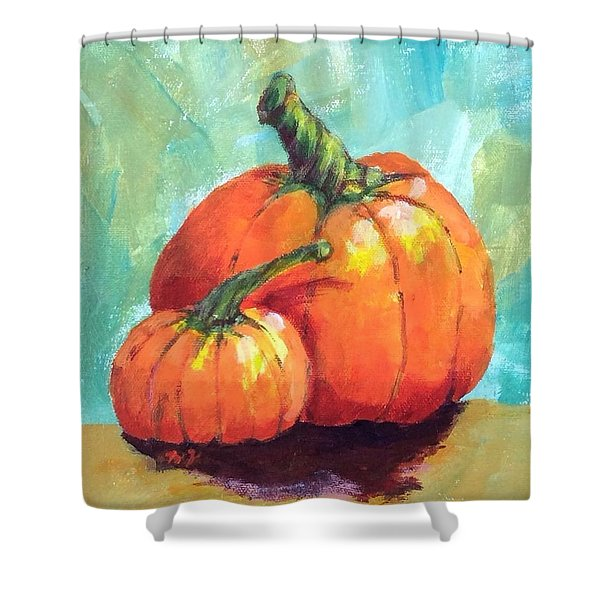 Two Pumpkins  Shower Curtain