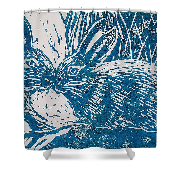 Two Rabbits Shower Curtain