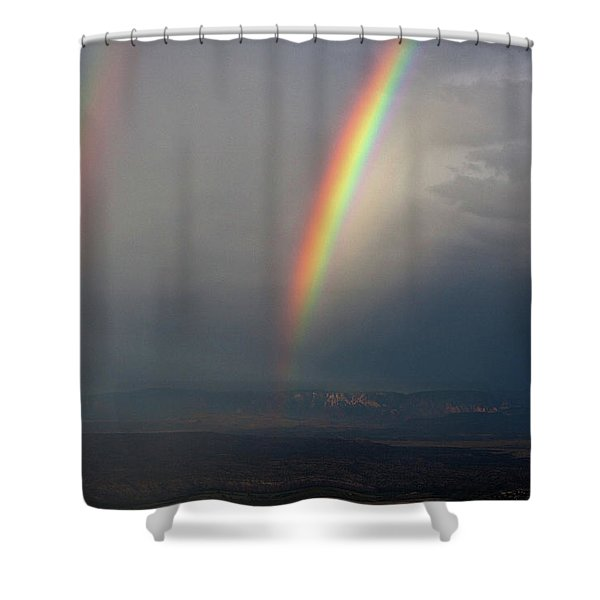 Two Rainbows Shower Curtain