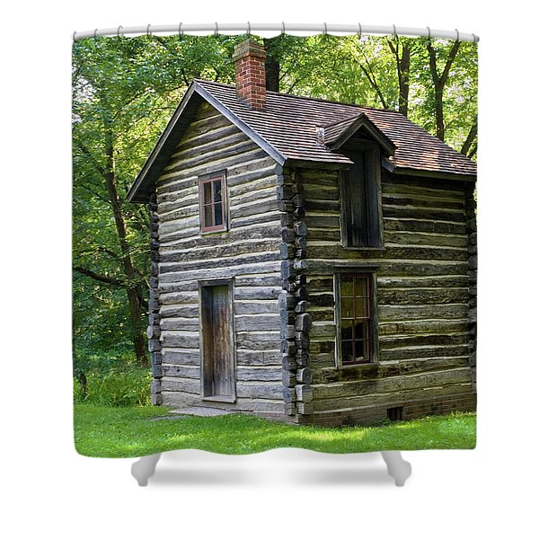 Two-story Log Building Shower Curtain