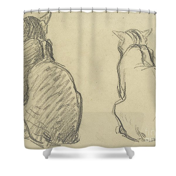 Two Studies Of A Cat Shower Curtain