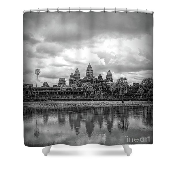 Two Tone Black White Vertical Angkor Wat  Shower Curtain