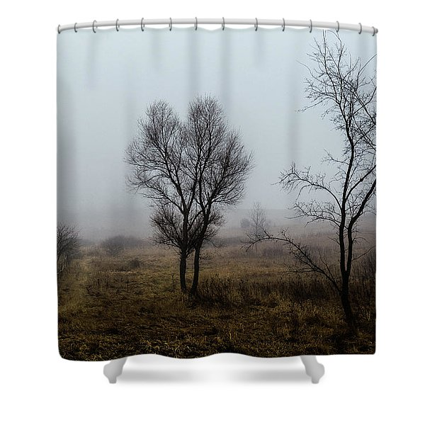 Two Trees In The Fog Shower Curtain