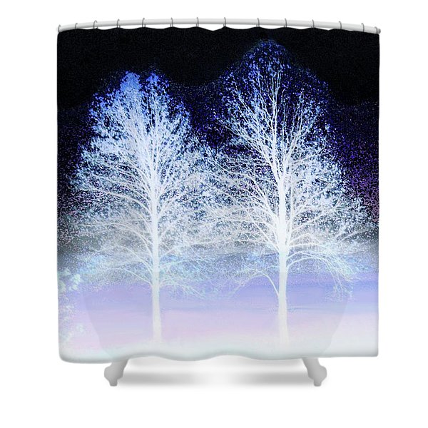 Two Trees In Winter Shower Curtain
