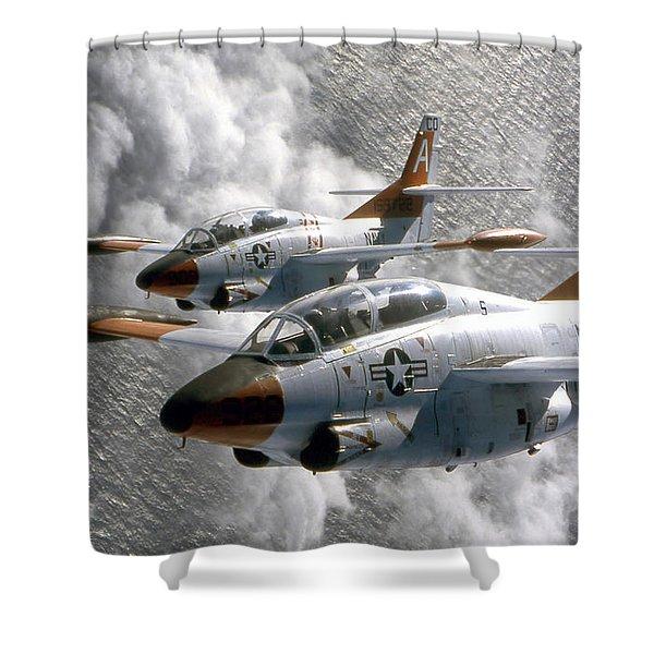 Two U.s. Navy T-2c Buckeye Aircraft Shower Curtain