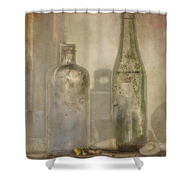 Two Vintage Bottles Shower Curtain