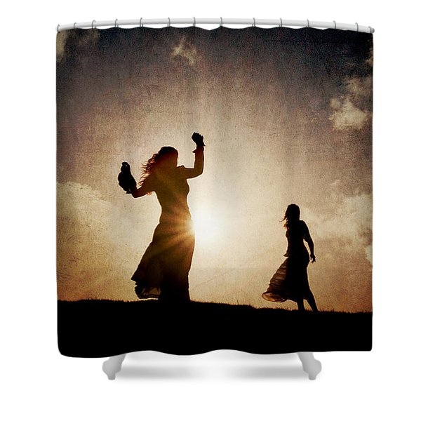 Two Women Dancing At Sunset Shower Curtain