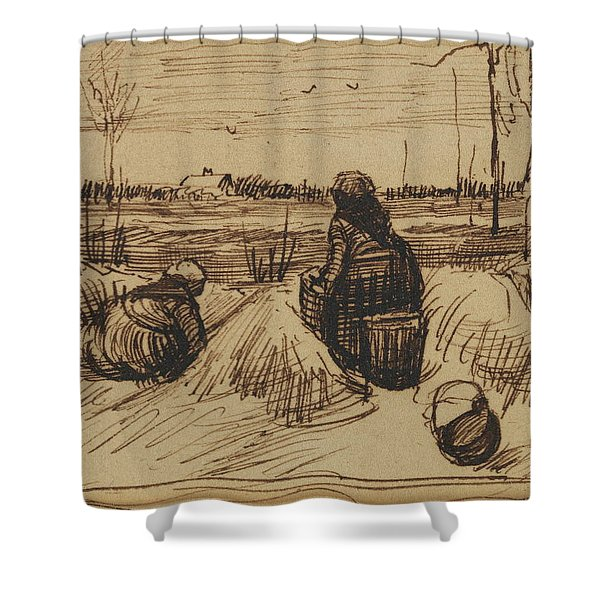 Two Women Working In The Fields, 1885 Shower Curtain