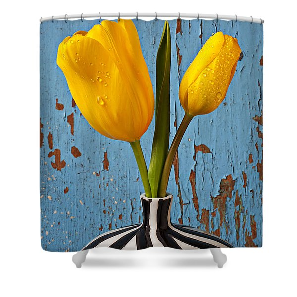Two Yellow Tulips Shower Curtain