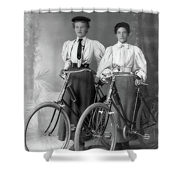 Two Young Ladies With Their Bicycles Circa 1895 Shower Curtain