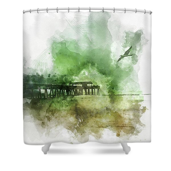 Tybee Island Pier Georgia Shower Curtain