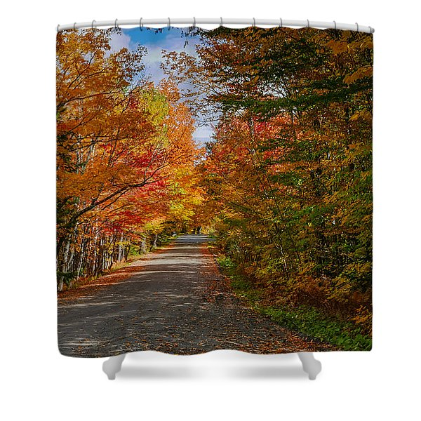 Typical Vermont Dirve - Fall Foliage Shower Curtain