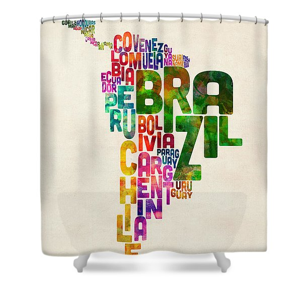 Typography Map Of Central And South America Shower Curtain