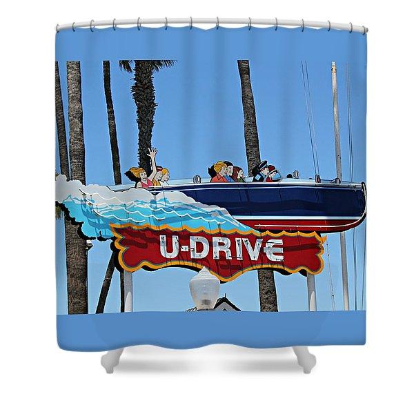 U-drive Boat Sign Shower Curtain