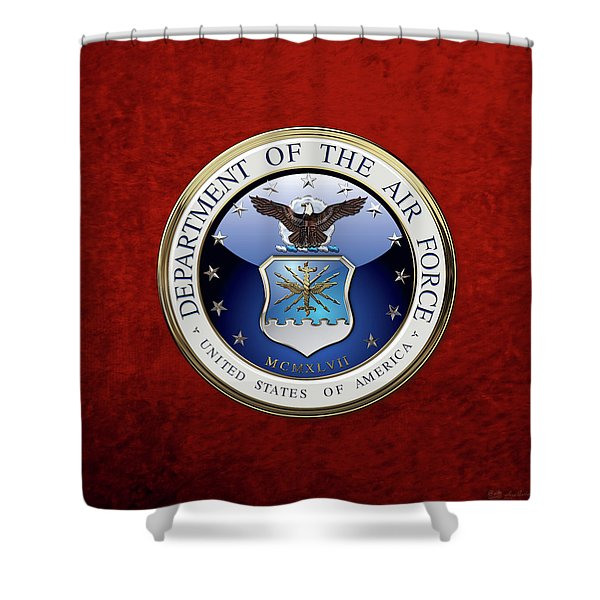 U. S.  Air Force  -  U S A F Emblem Over Red Velvet Shower Curtain
