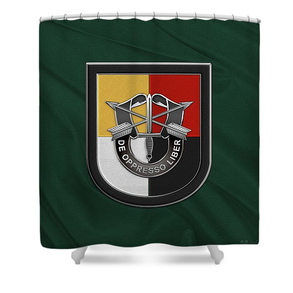 U. S.  Army 3rd Special Forces Group - 3  S F G  Beret Flash Over Green Beret Felt Shower Curtain