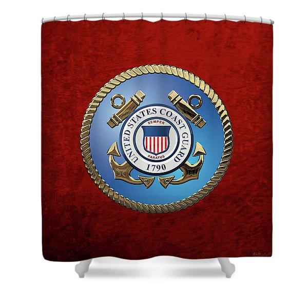 U. S. Coast Guard - U S C G Emblem Shower Curtain