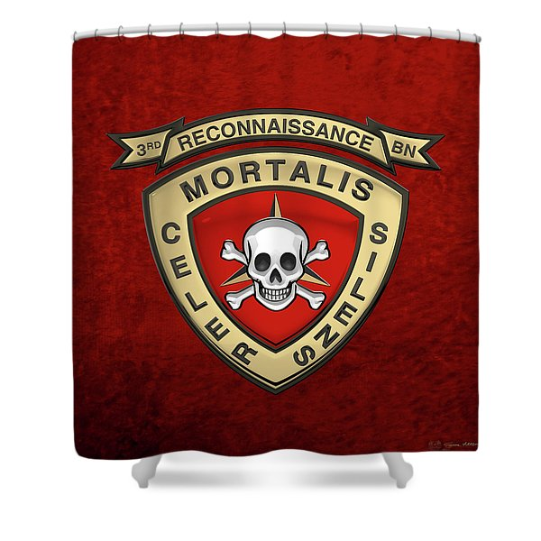 U S M C  3rd Reconnaissance Battalion -  3rd Recon Bn Insignia Over Red Velvet Shower Curtain