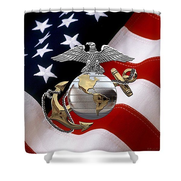 U S M C Eagle Globe And Anchor - C O And Warrant Officer E G A Over U. S. Flag Shower Curtain
