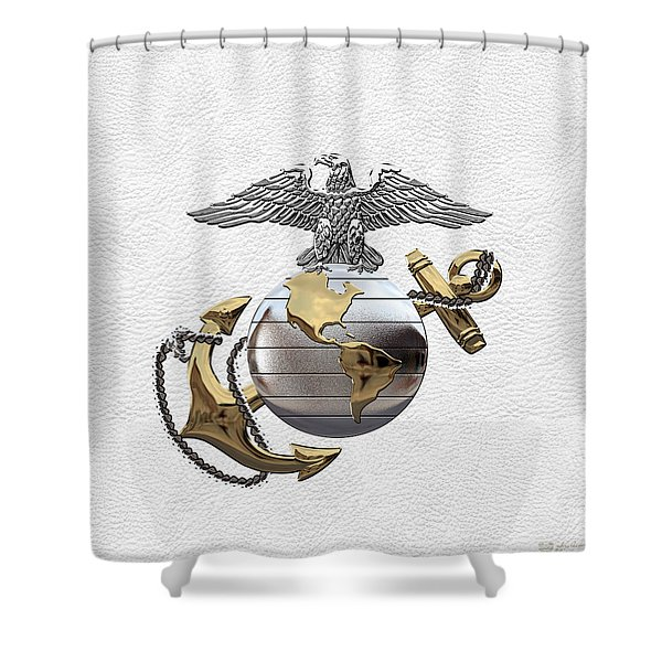 U S M C Eagle Globe And Anchor - C O And Warrant Officer E G A Over White Leather Shower Curtain