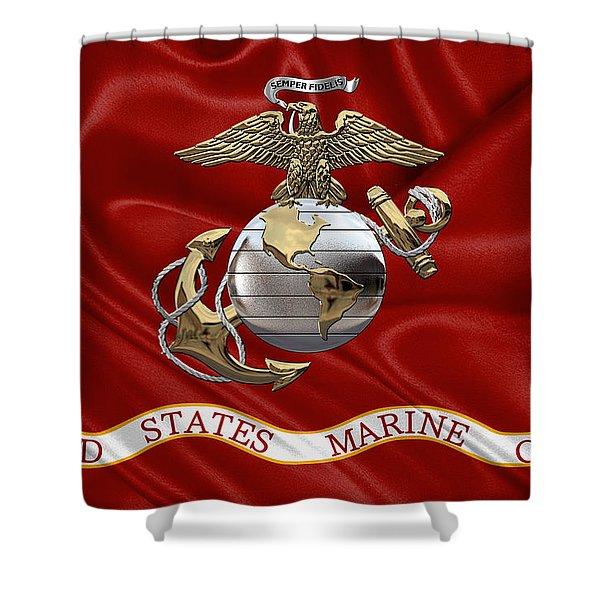 U. S.  Marine Corps - U S M C Eagle Globe And Anchor Over Corps Flag Shower Curtain