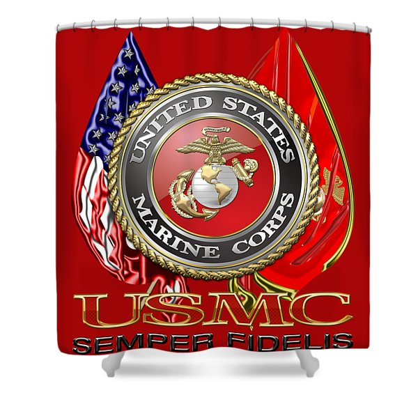 U. S. Marine Corps U S M C Emblem On Red Shower Curtain