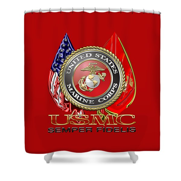 U. S. Marine Corps U S M C Emblem On Red Shower Curtain