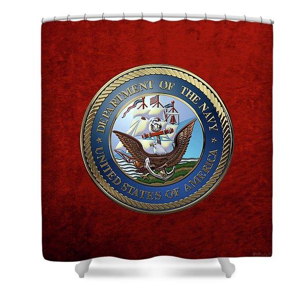 U. S.  Navy  -  U S N Emblem Over Red Velvet Shower Curtain