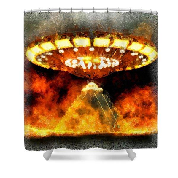 Ufo Mayans Shower Curtain