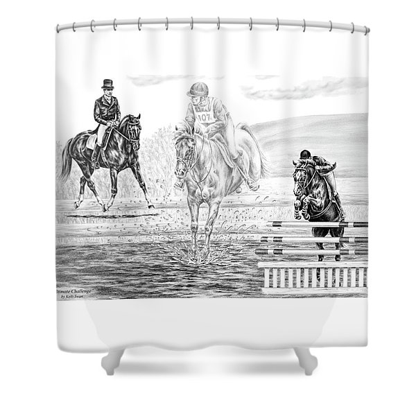 Ultimate Challenge - Eventing Horse Print Shower Curtain