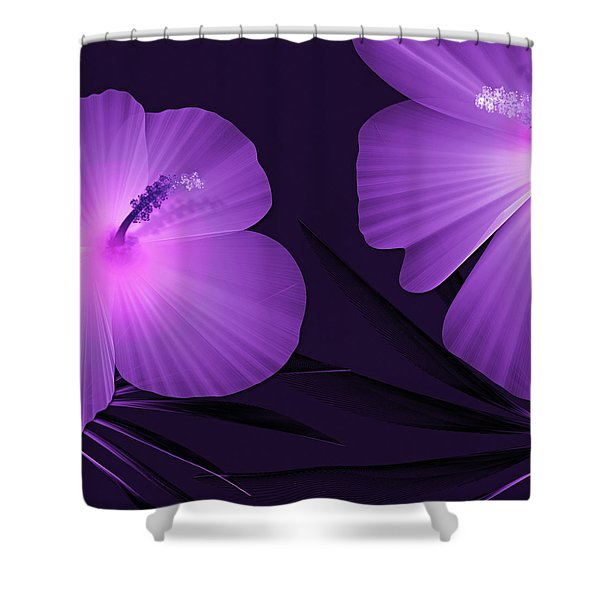 Ultraviolet Hibiscus Tropical Nature Print  Shower Curtain