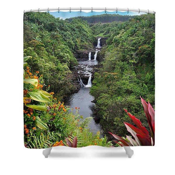 Umauma Falls Hawaii Shower Curtain