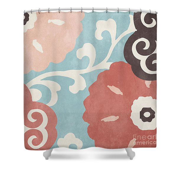 Umbrella Skies I Suzani Pattern Shower Curtain