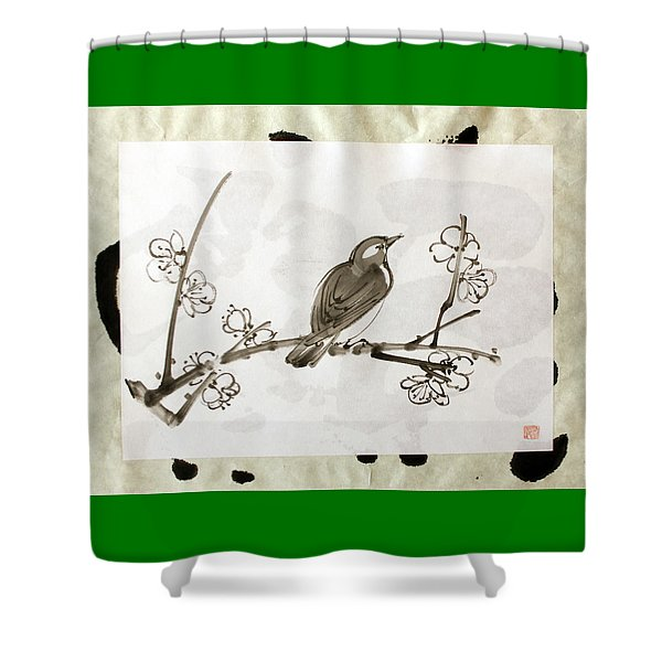 Ume Uguisu Shower Curtain
