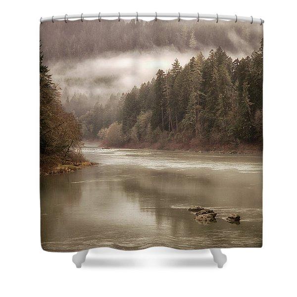 Umpqua River Fog Shower Curtain