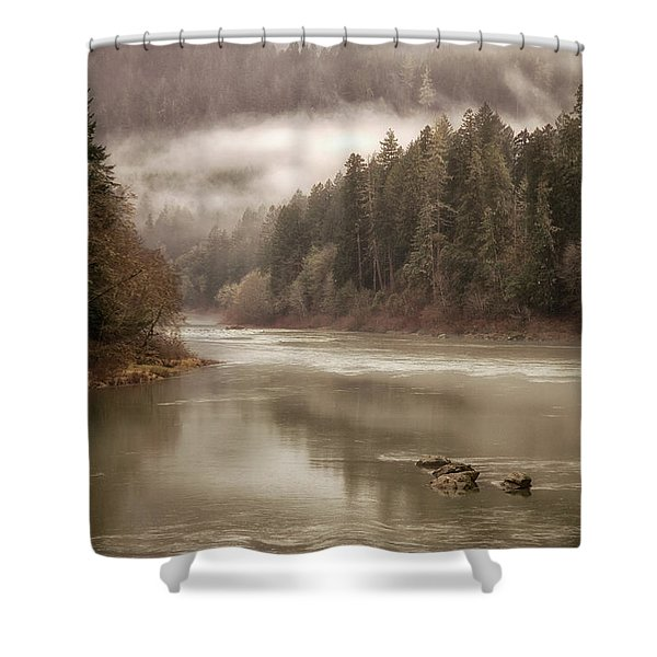 Umpqua River Fog Shower Curtain
