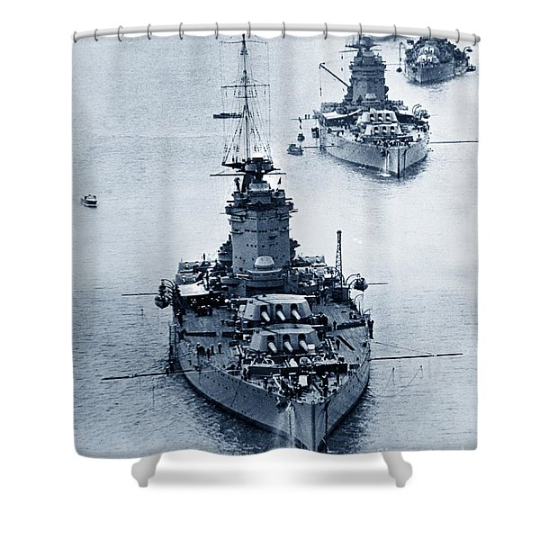 Hms Nelson And Hms Rodney Battleships And Battlecruisers Hms Hood Circa 1941 Shower Curtain