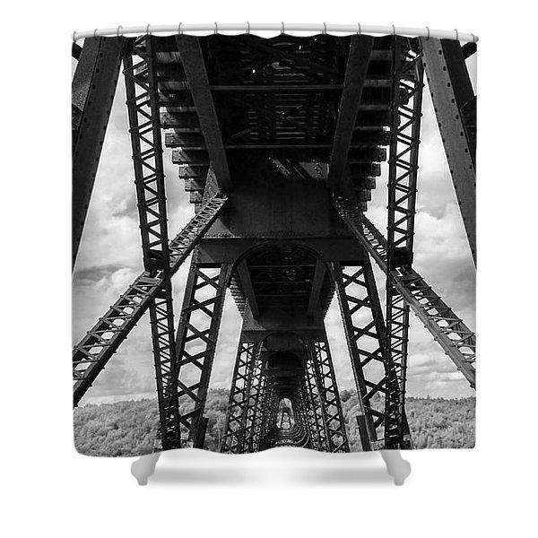 Under The Kinzua Bridge In Black And White Shower Curtain