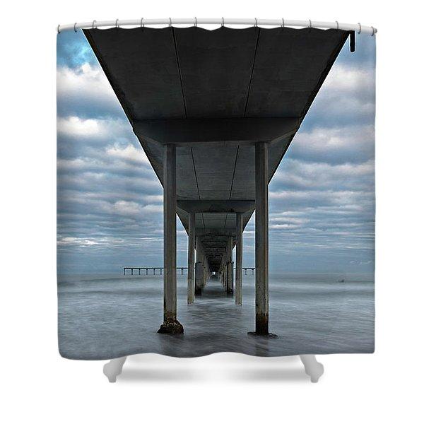 Under The Ocean Beach Pier San Diego Early Morning Shower Curtain