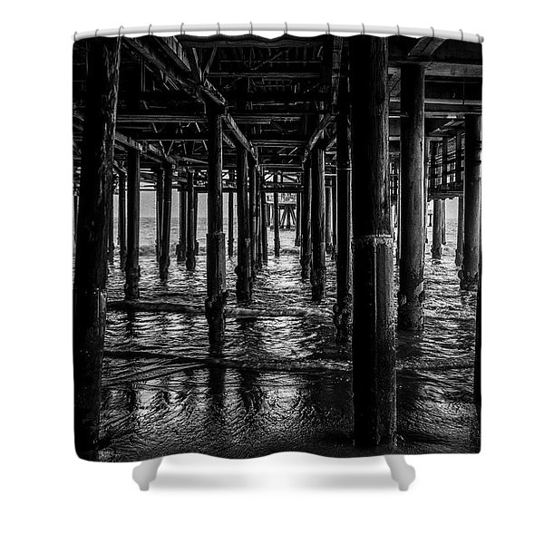 Under The Pier - Black And White Shower Curtain