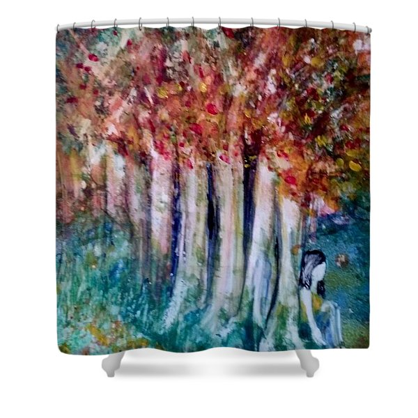 Shower Curtain featuring the painting Under The Trees by Deborah Nell