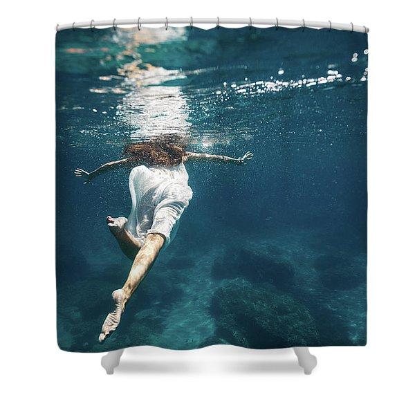 Underwater White Dress IIi Shower Curtain